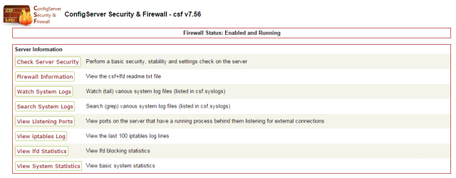 ConfigServer Security & Firewall Integrated User Interface